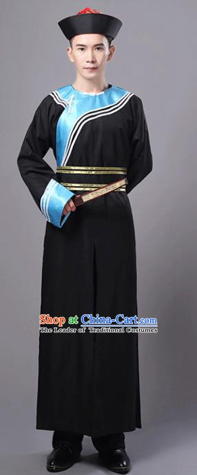 Traditional Chinese Qing Dynasty Court Eunuch Costume, China Manchu Imperial Bodyguard Black Robe for Men