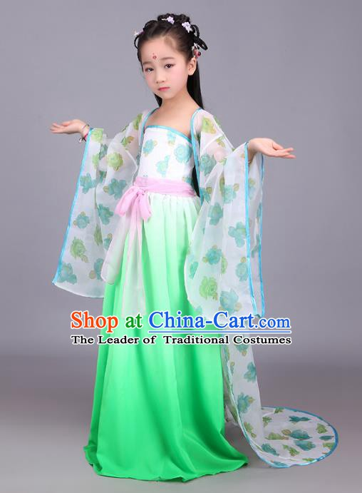 Traditional Chinese Tang Dynasty Palace Princess Costume, China Ancient Fairy Hanfu Dress Clothing for Kids