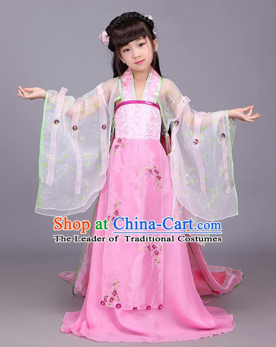 Traditional Chinese Tang Dynasty Imperial Consort Costume, China Ancient Palace Lady Hanfu Dress Clothing for Kids
