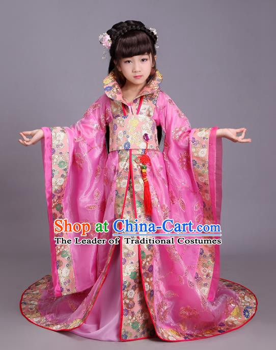 Traditional Chinese Tang Dynasty Palace Lady Costume, China Ancient Imperial Consort Hanfu Trailing Dress Clothing for Kids