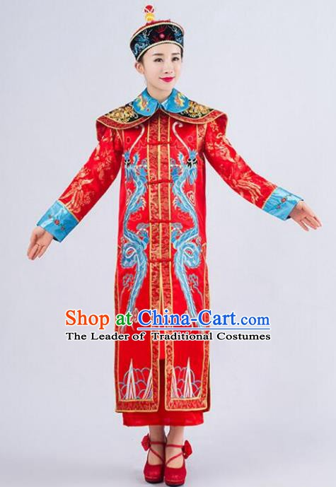 Traditional Ancient Chinese Qing Dynasty Empress Costume, China Manchu Palace Queen Embroidered Red Clothing for Women