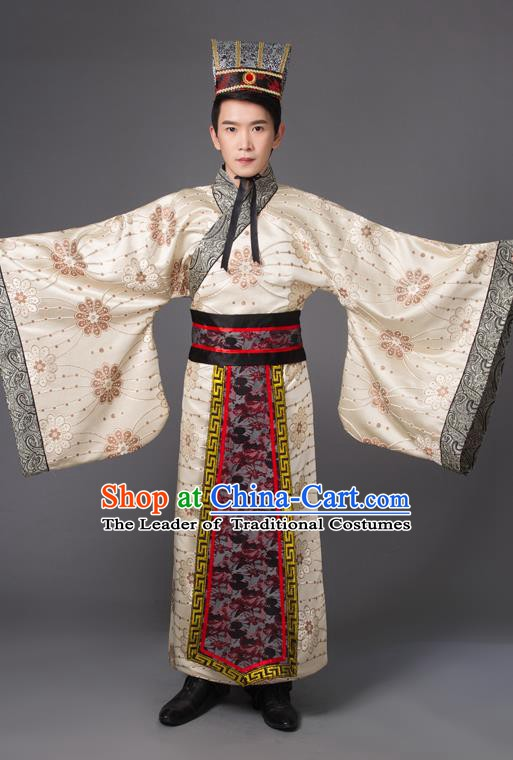 Traditional Chinese Han Dynasty Prime Minister Costume, China Ancient Chancellor Hanfu Robe Clothing for Men