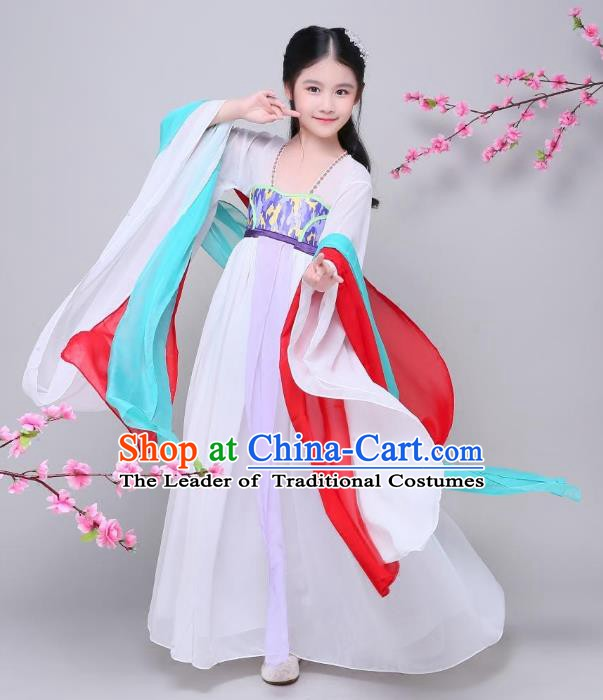 Traditional Chinese Ancient Palace Fairy Costume, China Tang Dynasty Imperial Princess Embroidered Clothing for Kids