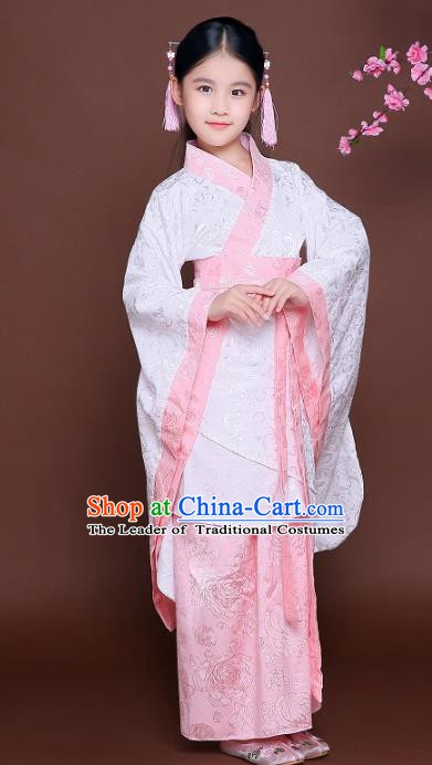Traditional Chinese Han Dynasty Princess Costume, China Ancient Fairy Hanfu Curving-front Robe Clothing for Kids