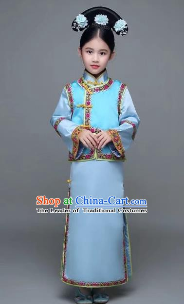 Traditional Chinese Qing Dynasty Manchu Princess Costume, China Palace Lady Embroidered Clothing for Kids