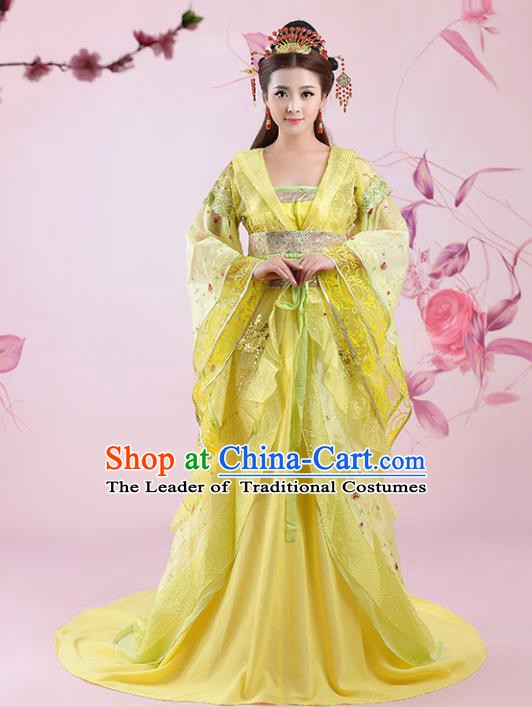 Traditional Chinese Ancient Imperial Consort Yellow Costume, China Tang Dynasty Palace Lady Embroidered Clothing for Women