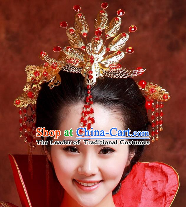 Traditional Handmade Chinese Classical Hair Accessories Hanfu Hairpins Phoenix Coronet for Women