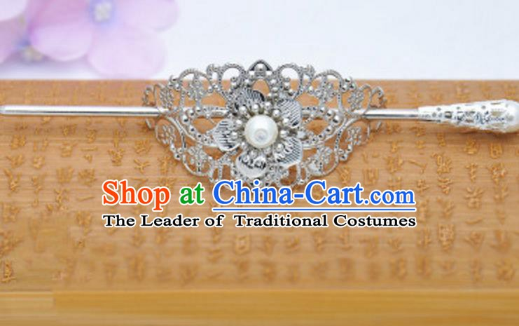 Traditional Handmade Chinese Classical Hair Accessories Hairpin Han Dynasty Nobility Childe White Bead Hairdo Crown for Men