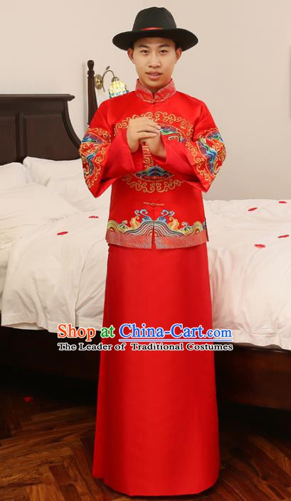 Ancient Chinese Republic of China Wedding Costume China Traditional Bridegroom Embroidered Toast Clothing for Men