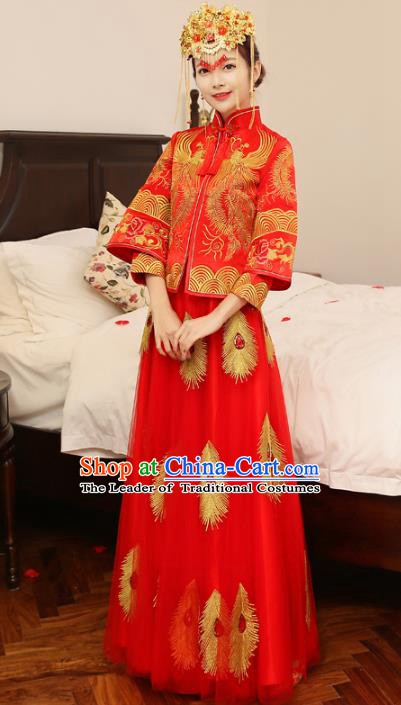 Ancient Chinese Wedding Xiuhe Suit Costume China Traditional Bride Embroidered Phoenix Clothing for Women