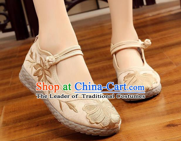 Asian Chinese Beige Cloth Embroidered Shoes, Traditional China Princess Shoes Hanfu Embroidery Shoes for Women