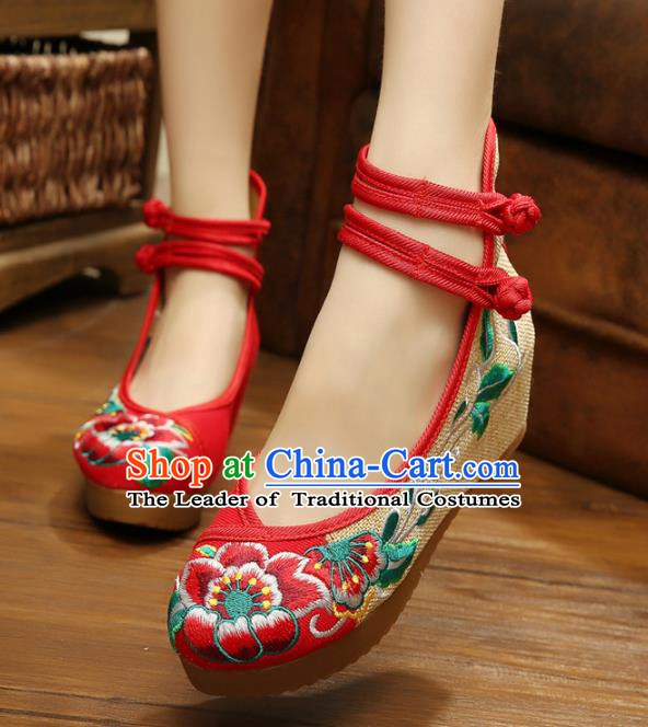 Traditional Chinese National Red Linen Embroidered Peony Shoes, China Princess Shoes Hanfu Embroidery Shoes for Women