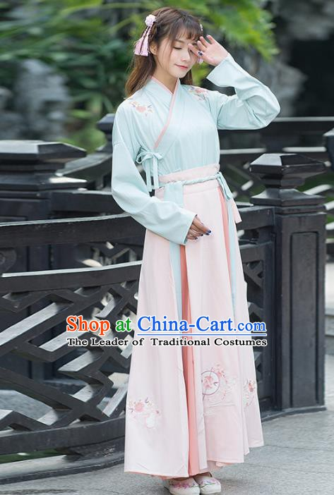 Traditional Chinese Ancient Palace Lady Costume, China Han Dynasty Princess Embroidered Clothing for Women