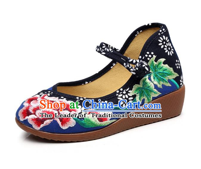 Traditional Chinese National Hanfu Blue Embroidered Shoes, China Princess Embroidery Peony Shoes for Women