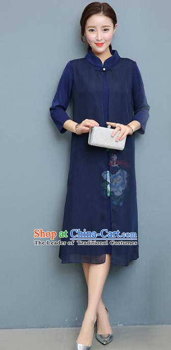 902dcc8a040 Traditional Chinese National Costume Hanfu Blue Qipao Dress