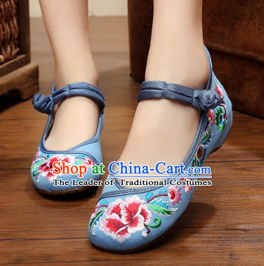 Traditional Chinese National Blue Canvas Shoes Embroidered Peony Shoes, China Princess Embroidery Shoes for Women