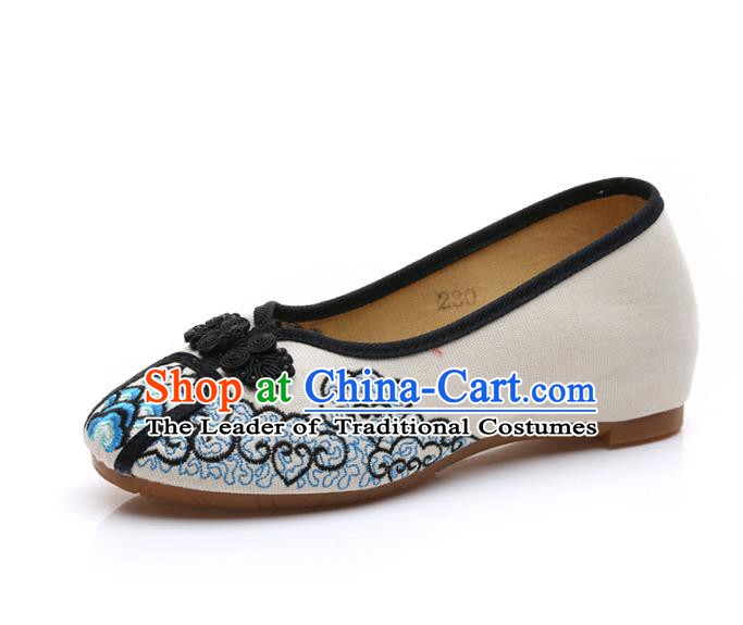 Traditional Chinese National Embroidered Black Shoes, China Princess Embroidery Shoes for Women