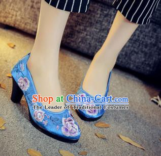 Traditional Chinese National Hanfu Blue Embroidered Shoes, China Princess Embroidery Peony High-heeled Shoes for Women
