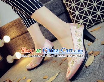 Traditional Chinese National Hanfu Pink Embroidered Shoes, China Princess Embroidery Peony High-heeled Shoes for Women
