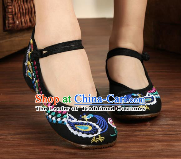 Traditional Chinese National Hanfu Embroidery Phoenix Black Shoes, China Princess Embroidered Shoes for Women