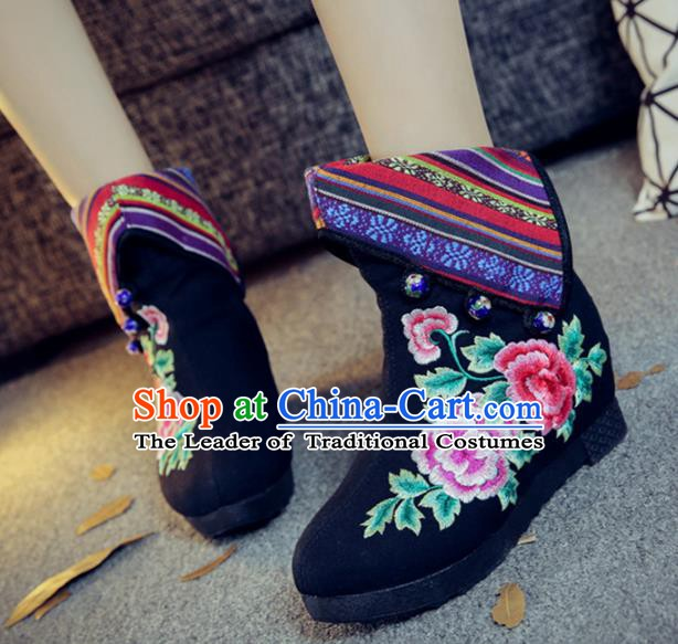 Traditional Chinese National Hanfu Embroidery Peony Black Boots, China Embroidered Shoes for Women