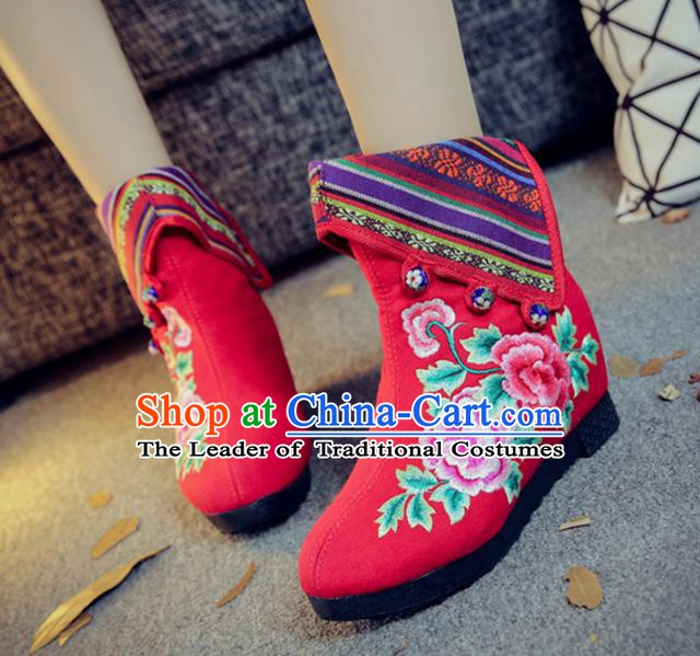Traditional Chinese National Hanfu Embroidery Peony Red Boots, China Embroidered Shoes for Women