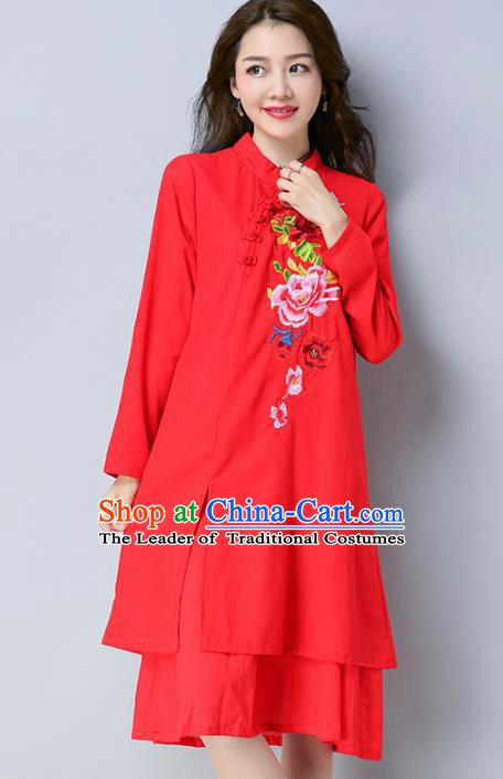 Traditional Chinese National Costume Hanfu Embroidered Red Qipao Dress, China Tang Suit Cheongsam for Women