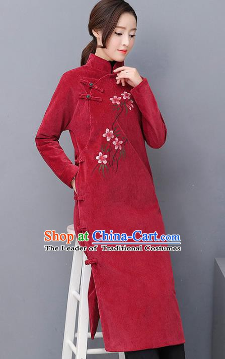 Traditional Chinese National Costume Hanfu Wine Red Qipao, China Tang Suit Cheongsam Dress for Women