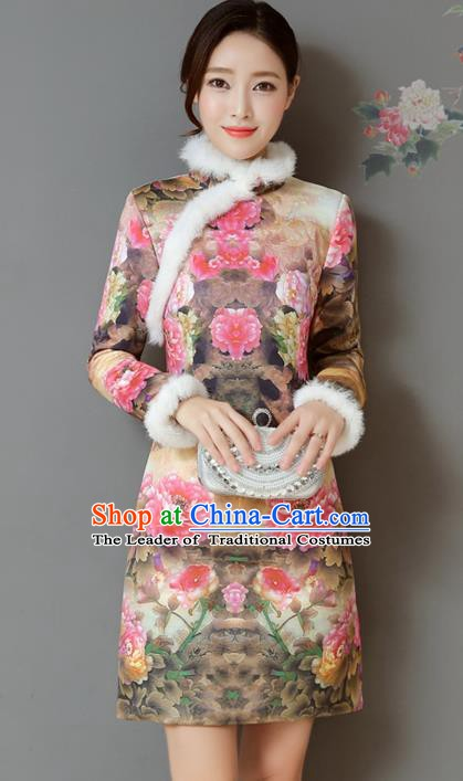 Traditional Chinese National Costume Hanfu Printing Peony Qipao Dress, China Tang Suit Cheongsam for Women