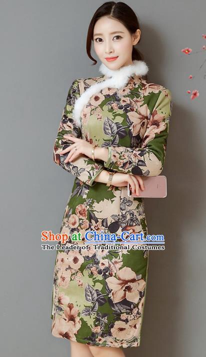 91ded2dc344 Traditional Chinese National Costume Hanfu Printing Green Qipao ...
