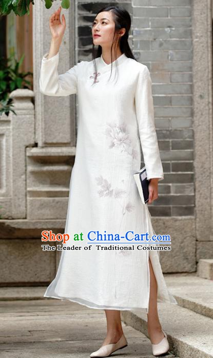 Traditional Chinese National Costume Hanfu Ink Painting Qipao, China Tang Suit Cheongsam Dress for Women