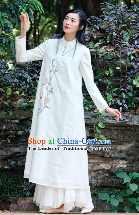 df0ab9e54a4 Traditional Chinese National Costume Hanfu White Qipao Dress