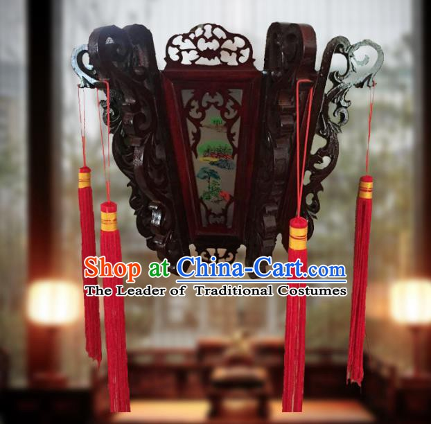 Traditional Chinese Handmade Landscape Painting Ceiling Lantern Classical Palace Lantern China Palace Lamp