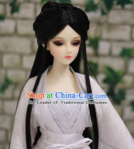 Traditional Handmade Chinese Ancient Tang Dynasty Princess Wig Sheath Palace Lady Wig for Women