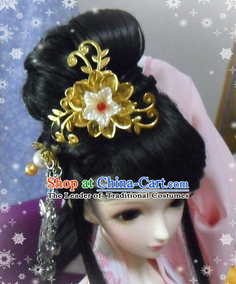 Traditional Handmade Chinese Ancient Tang Dynasty Palace Lady Princess Hair Accessories and Wig Sheath for Women