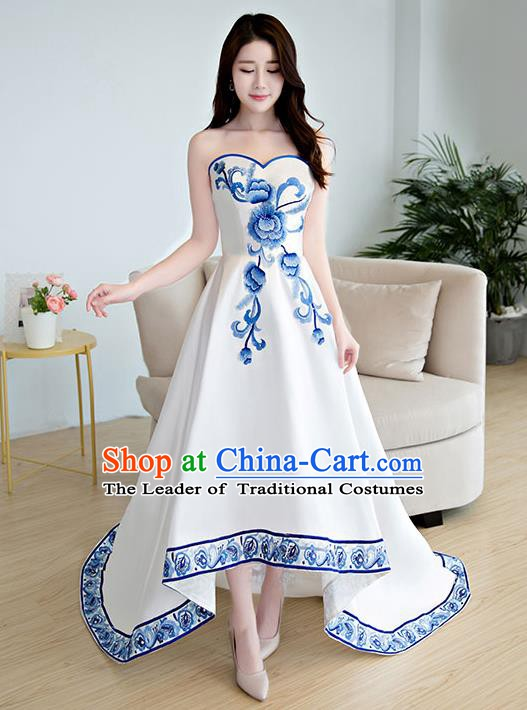 Chinese Style Wedding Catwalks Costume Opening Dance Wedding Bride Full Dress Cheongsam for Women