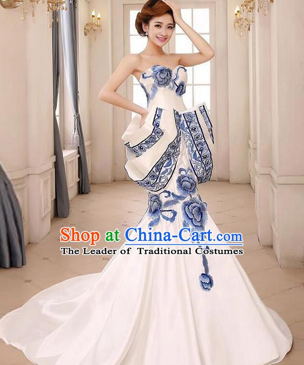 Chinese Style Wedding Catwalks Costume Wedding Bride Embroidered Peony Trailing Full Dress Blue and White Porcelain Cheongsam for Women