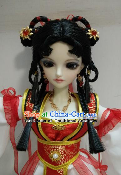 Traditional Handmade Chinese Ancient Tang Dynasty Swordswoman Hair Accessories Hairpins and Wig Sheath for Women