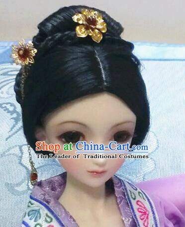 Traditional Handmade Chinese Ancient Princess Hair Accessories Nobility Lady Wig Sheath for Women