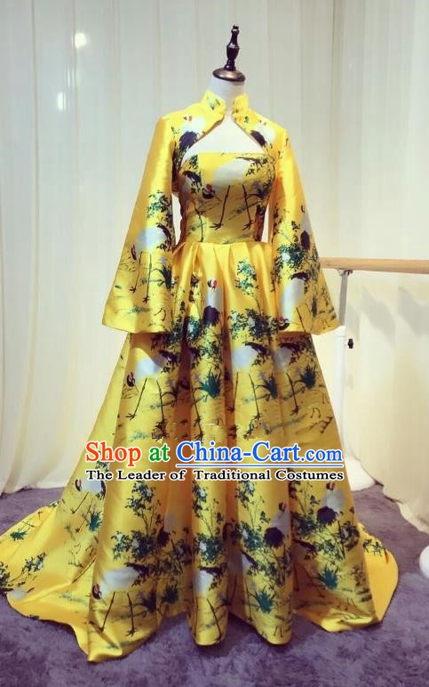 Chinese Style Wedding Catwalks Costume Wedding Bride Yellow Trailing Full Dress Compere Cheongsam for Women