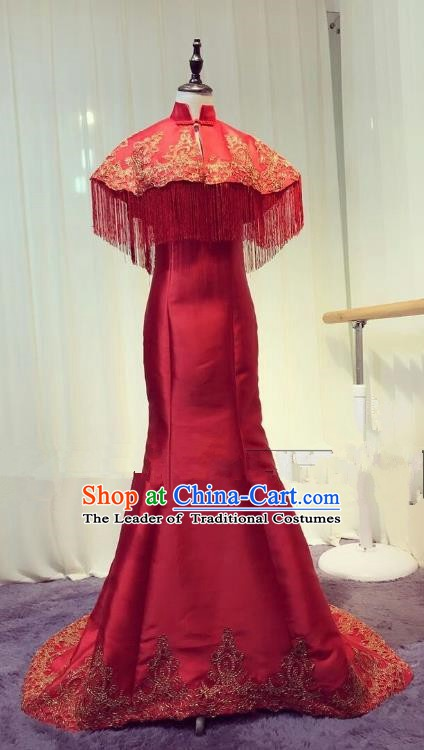 Chinese Style Wedding Catwalks Costume Wedding Bride Red Fishtail Full Dress Compere Embroidered Cheongsam for Women