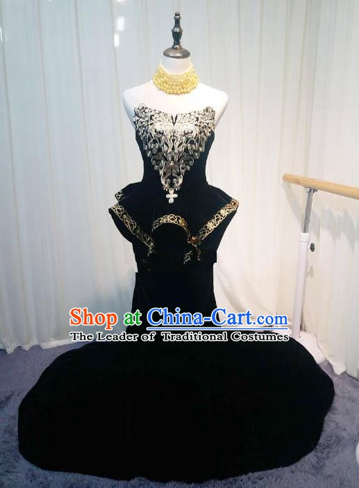 Chinese Style Wedding Catwalks Costume Wedding Trailing Black Full Dress Compere Embroidered Cheongsam for Women