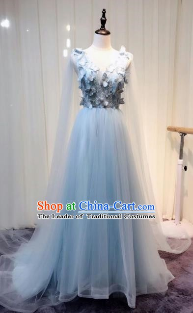 Chinese Style Wedding Catwalks Costume Wedding Bride Embroidered Veil Full Dress Compere Clothing for Women