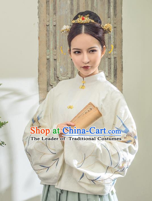 Traditional Chinese Ancient Nobility Lady Costume Ming Dynasty Princess Embroidered Blouse for Women