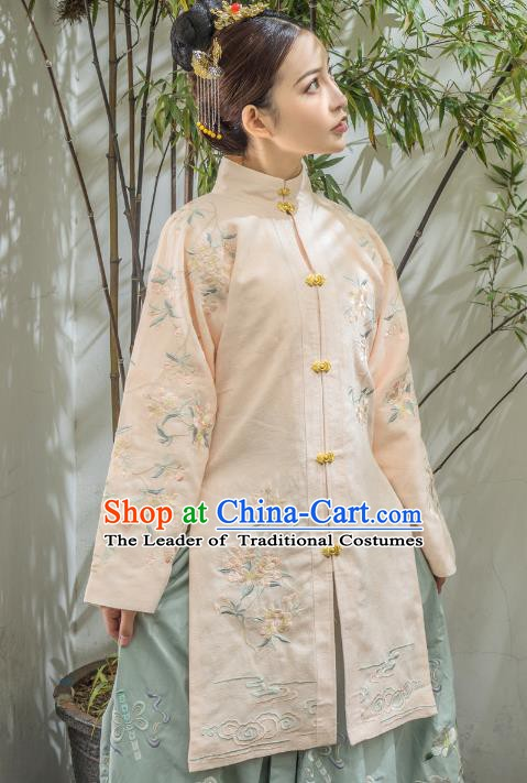 Traditional Chinese Ming Dynasty Palace Princess Costume, China Ancient Embroidered Blouse for Women