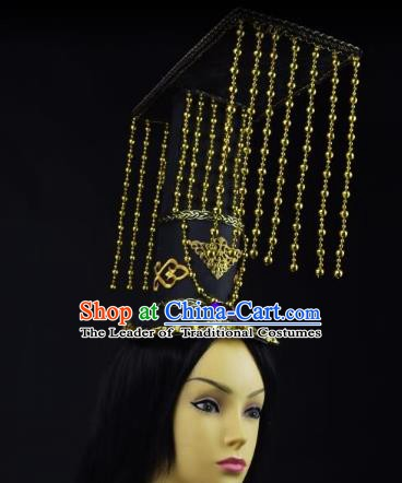 Traditional Handmade Chinese Ancient Tang Dynasty Emperor Tassel Hat Headwear for Men