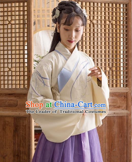 Traditional Chinese Ming Dynasty Palace Lady Costume Ancient Princess Embroidered Orchid Blouse for Women