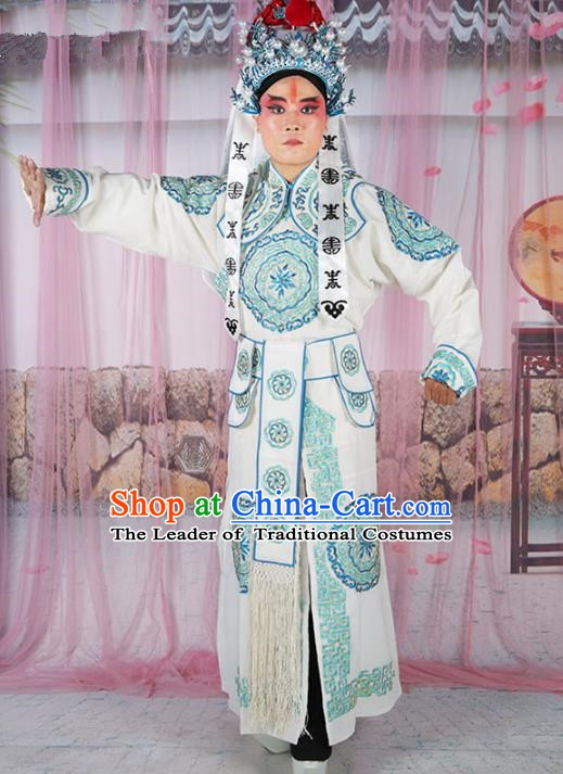 Chinese Beijing Opera Takefu Costume White Embroidered Robe, China Peking Opera Imperial Bodyguard Embroidery Gwanbok Clothing