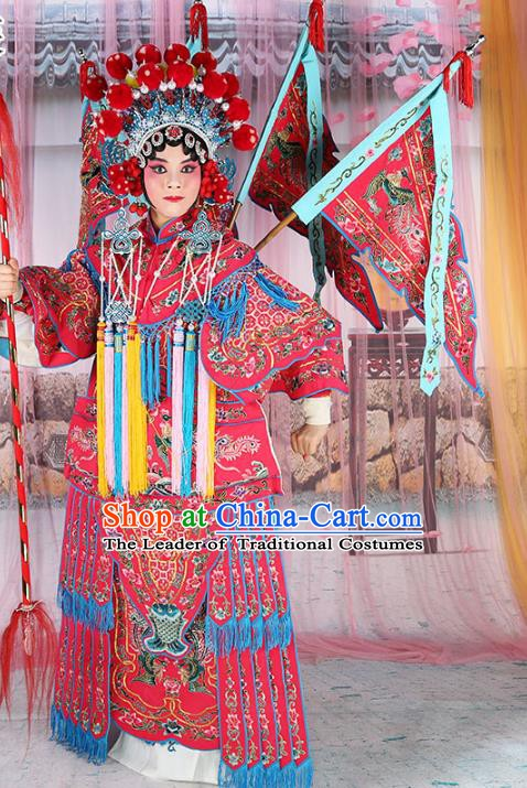Chinese Beijing Opera Female General Costume Embroidered Rosy Armour, China Peking Opera Blues Embroidery Gwanbok Clothing