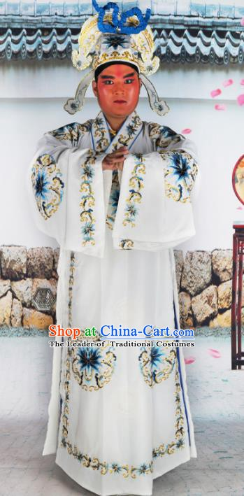 Chinese Beijing Opera Niche Costume White Embroidered Robe, China Peking Opera Scholar Embroidery Gwanbok Clothing
